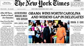 Vitória de Obama no N.Y. Times